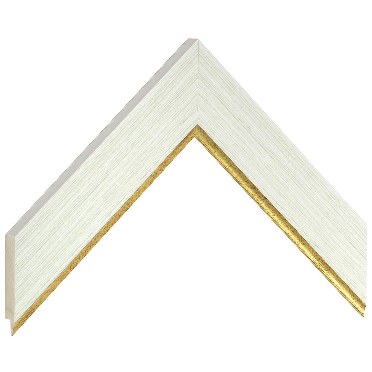 Liner finger-joint pine 38mm - ivory, gold sight edge