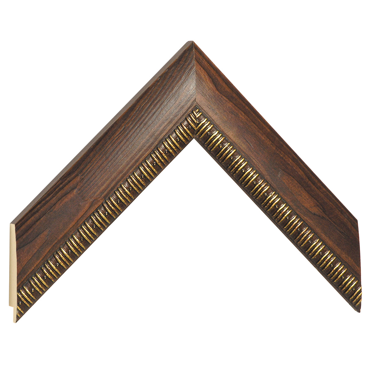 Moulding pine 40mm - walnut with gold decorations