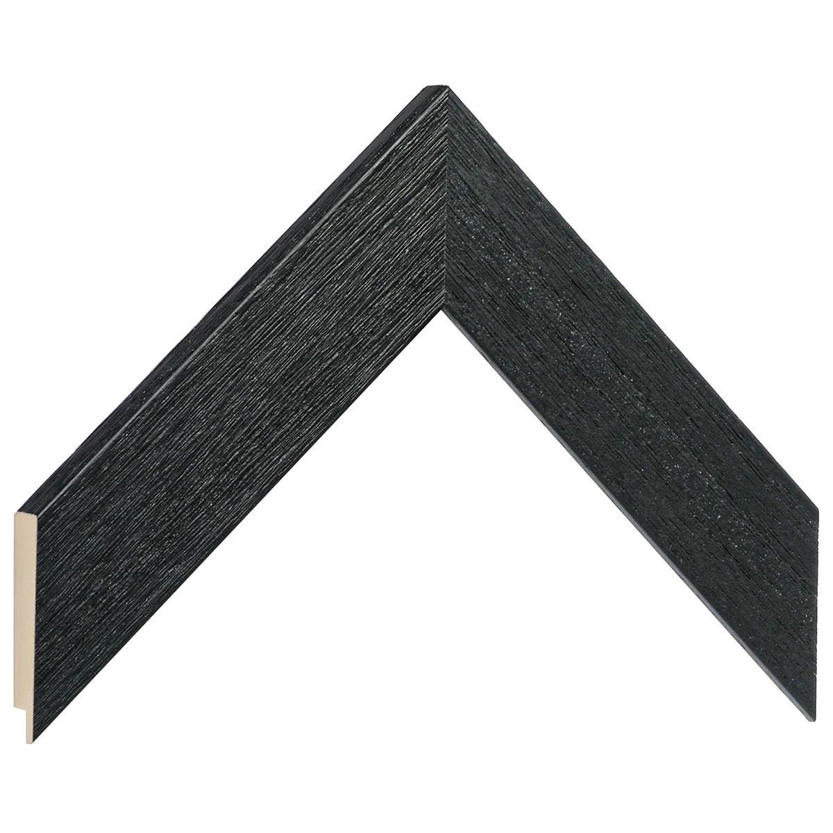 Moulding ayous, width 40mm height 16 - black, open grain