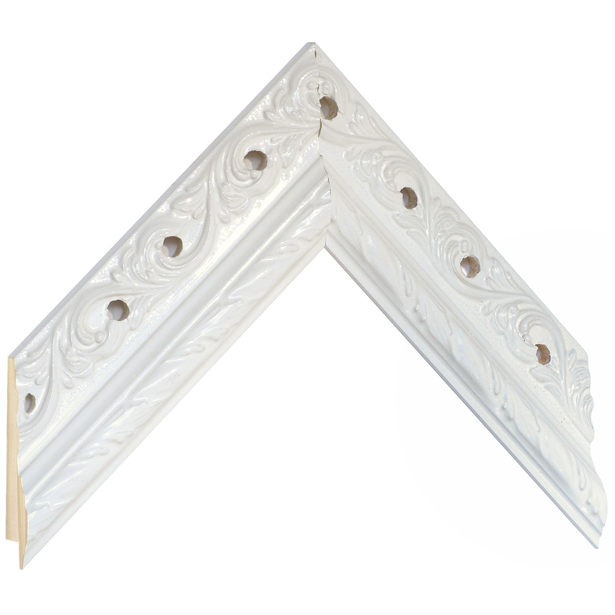Moulding pine 48mm wide, white with holes and decorations