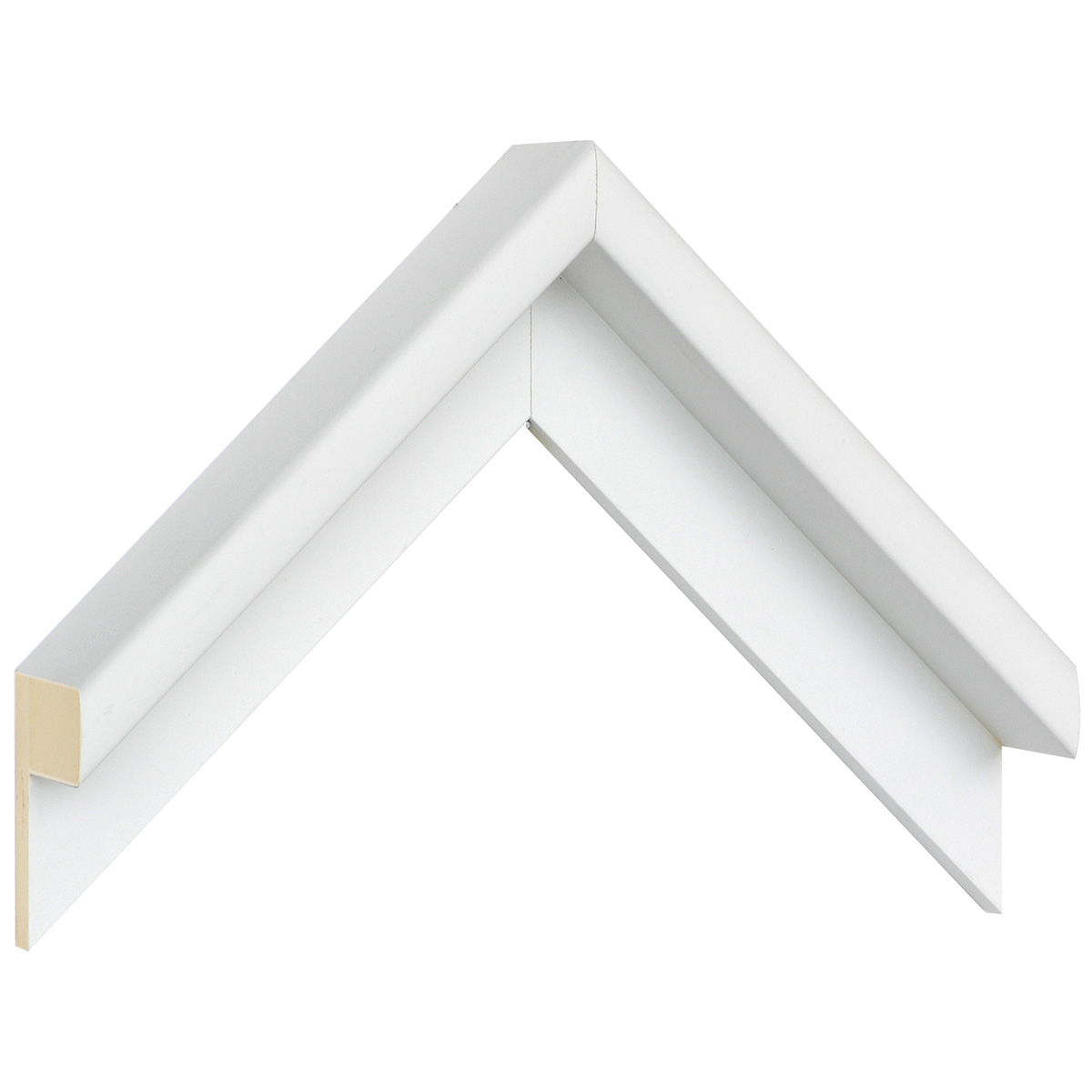 Moulding ayous L shaped Width 38mm Height 54 White, open grain