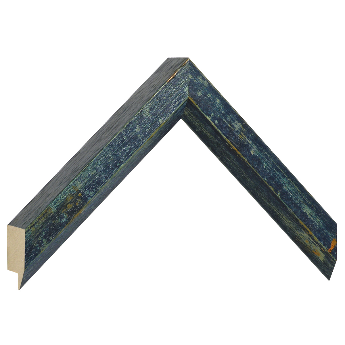 Moulding ayous, width 27mm, height 35, distressed blue