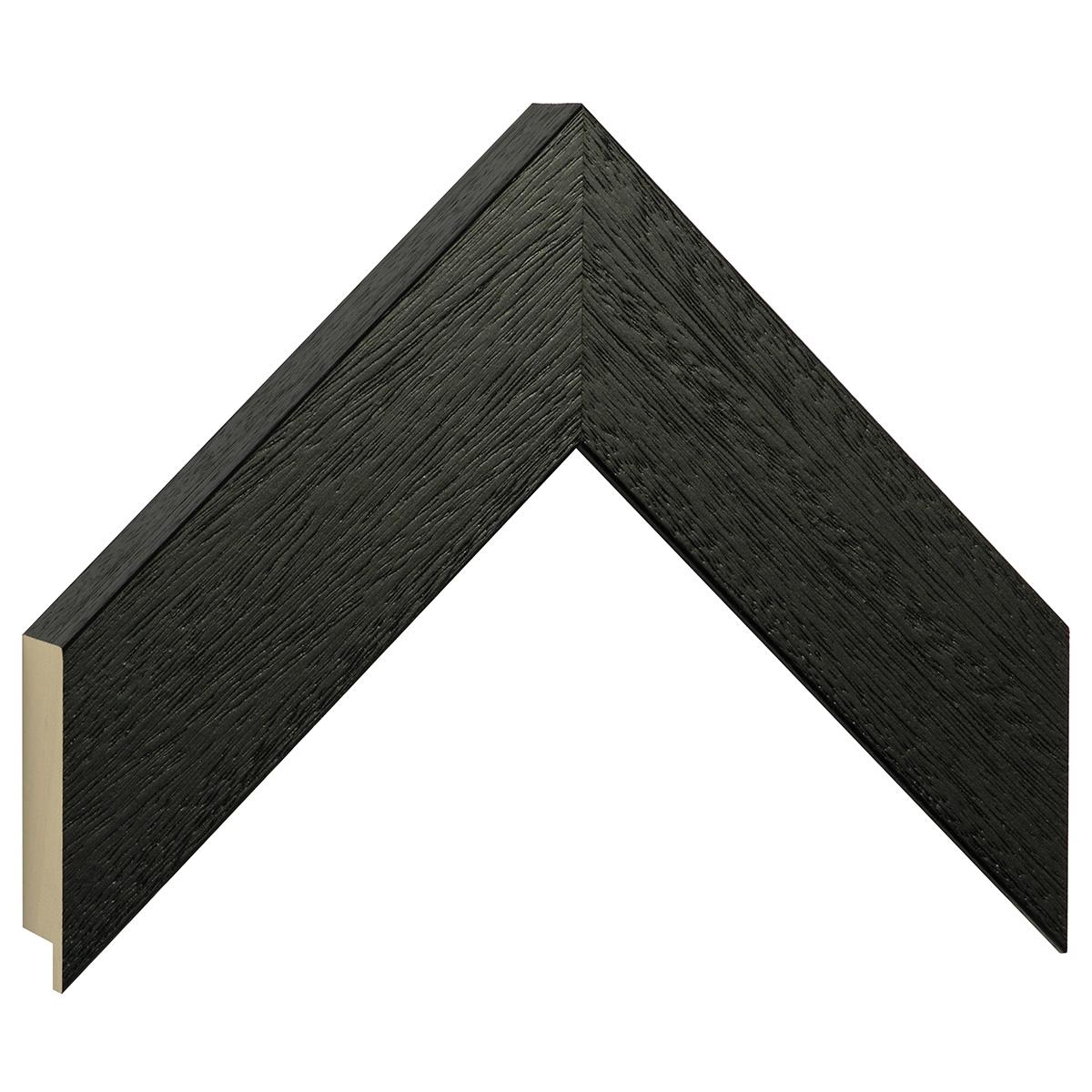 Moulding ayous, width 50mm height 32 - Black, open grain