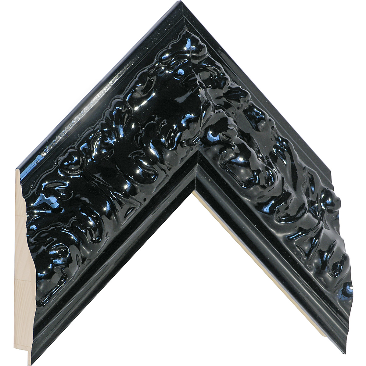 Moulding finger joint pine width 85mm height 45 - Glossy Black
