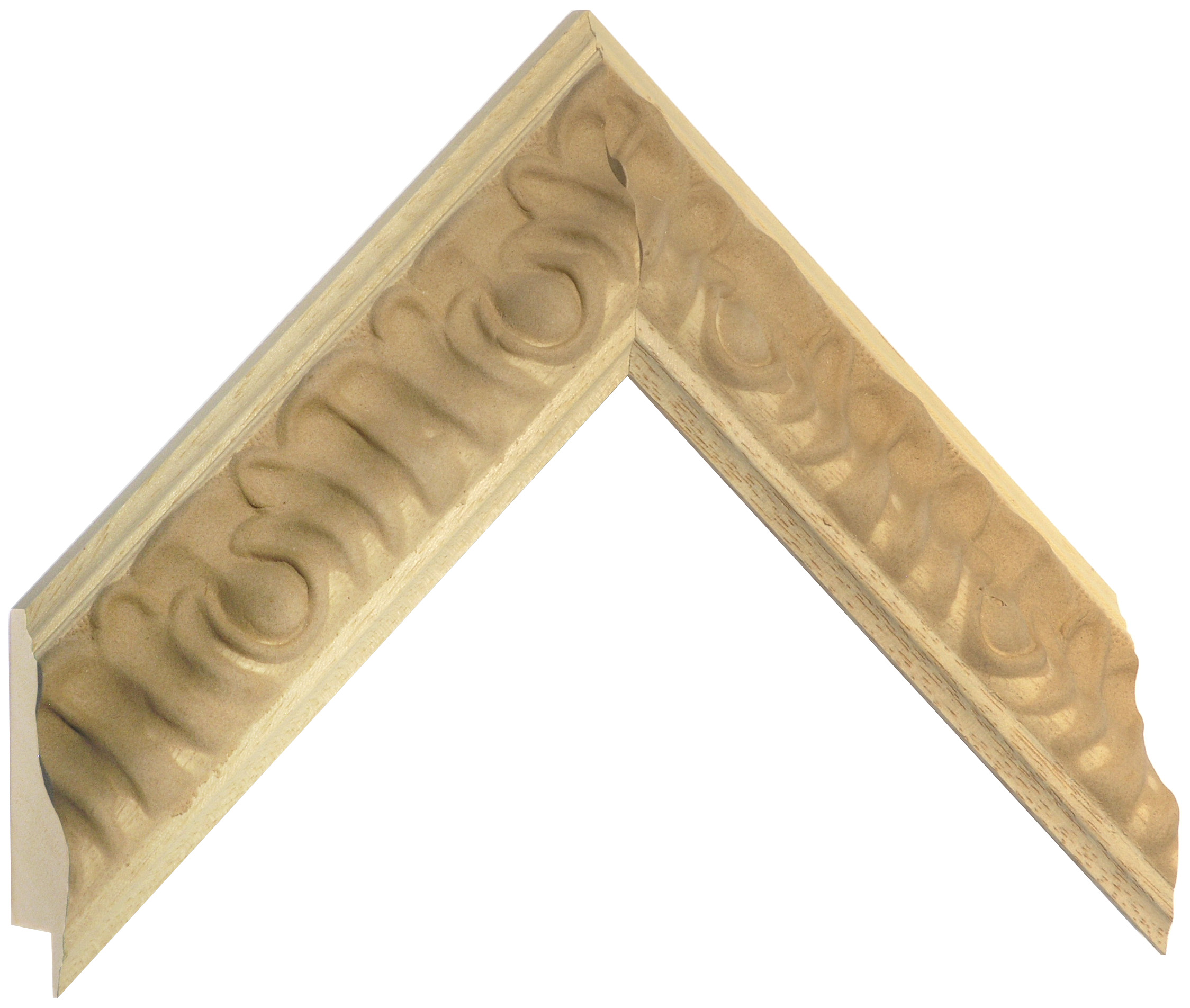 Moulding ayous, width 48 mm - embossed bare timber