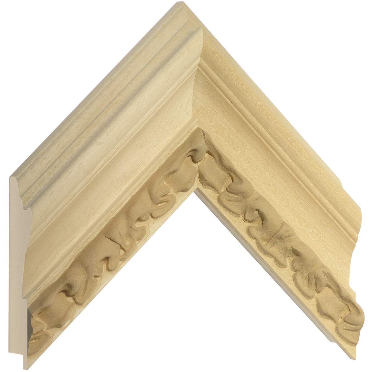 Moulding ayous, width 80 mm - embossed bare timber