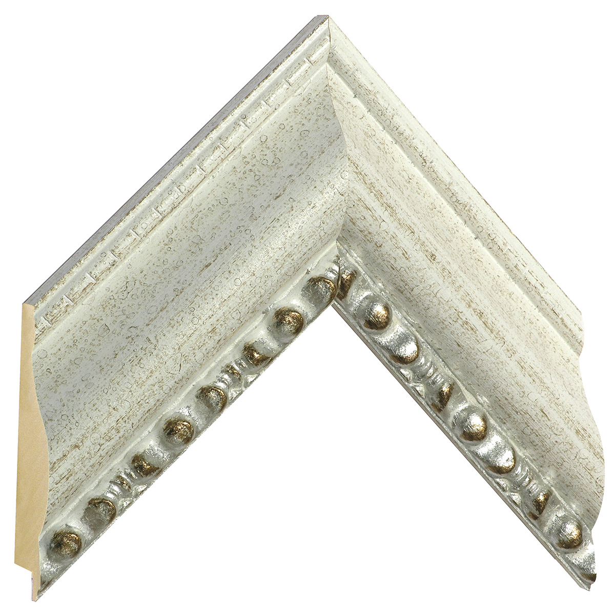 Moulding ayous, width 75mm, height 40, white, beaded edge