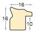 Moulding finger-joint pine Width 16mm Height 16, Brass