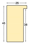 Moulding ayous, width 25mm height 45mm - bare timber