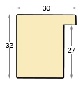 Moulding ayous, width 30mm height 32 - mahogany