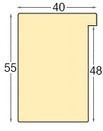 Moulding ayous, width 40mm, height 55mm, bare timber