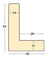 Moulding ayous Width 40mm Height 54 L-shaped
