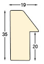 Mowlding ayous width 35 height 19, bare timber