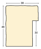 Moulding ayous, 38mm, 48height, rustic finish - cream