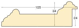 Moulding ayous - Width 105mm Height 34 - beige
