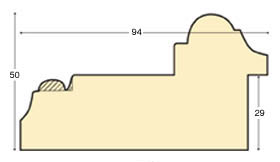 Moulding ayous, width 94mm, height 50, Gold