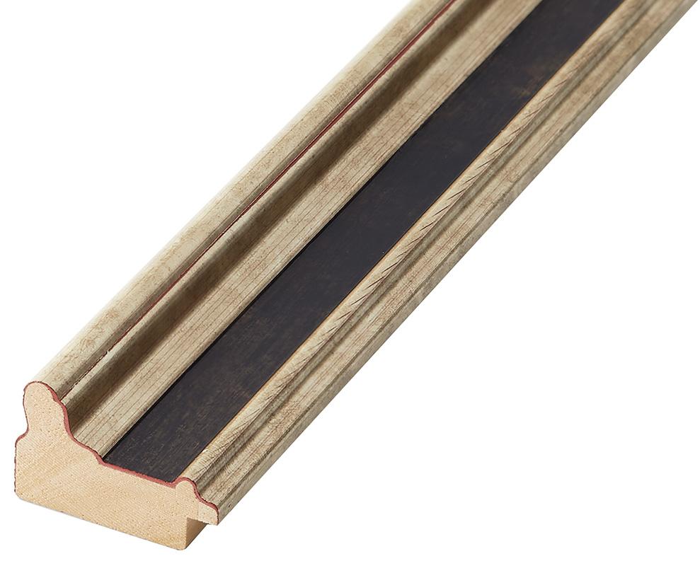 Moulding finger-joint pine Width 34mm, Silver, black band
