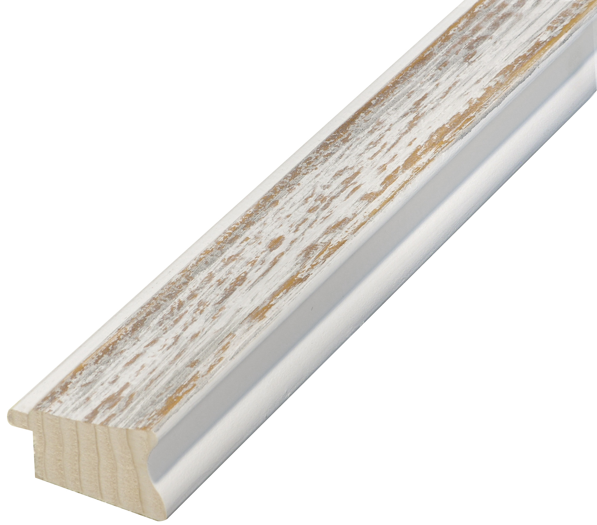 Moulding pine, width 40 mm, distressed white-brown